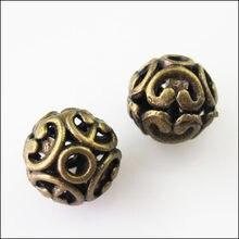 Novo 10 pçs antiguidade bronze flor redonda bola espaçador contas encantos 12mm