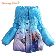 Sale 2015 Winter Fashion Cartoon Cotton warmer Children elsa Outwear Padded Baby Girls Jackets Coats Kids