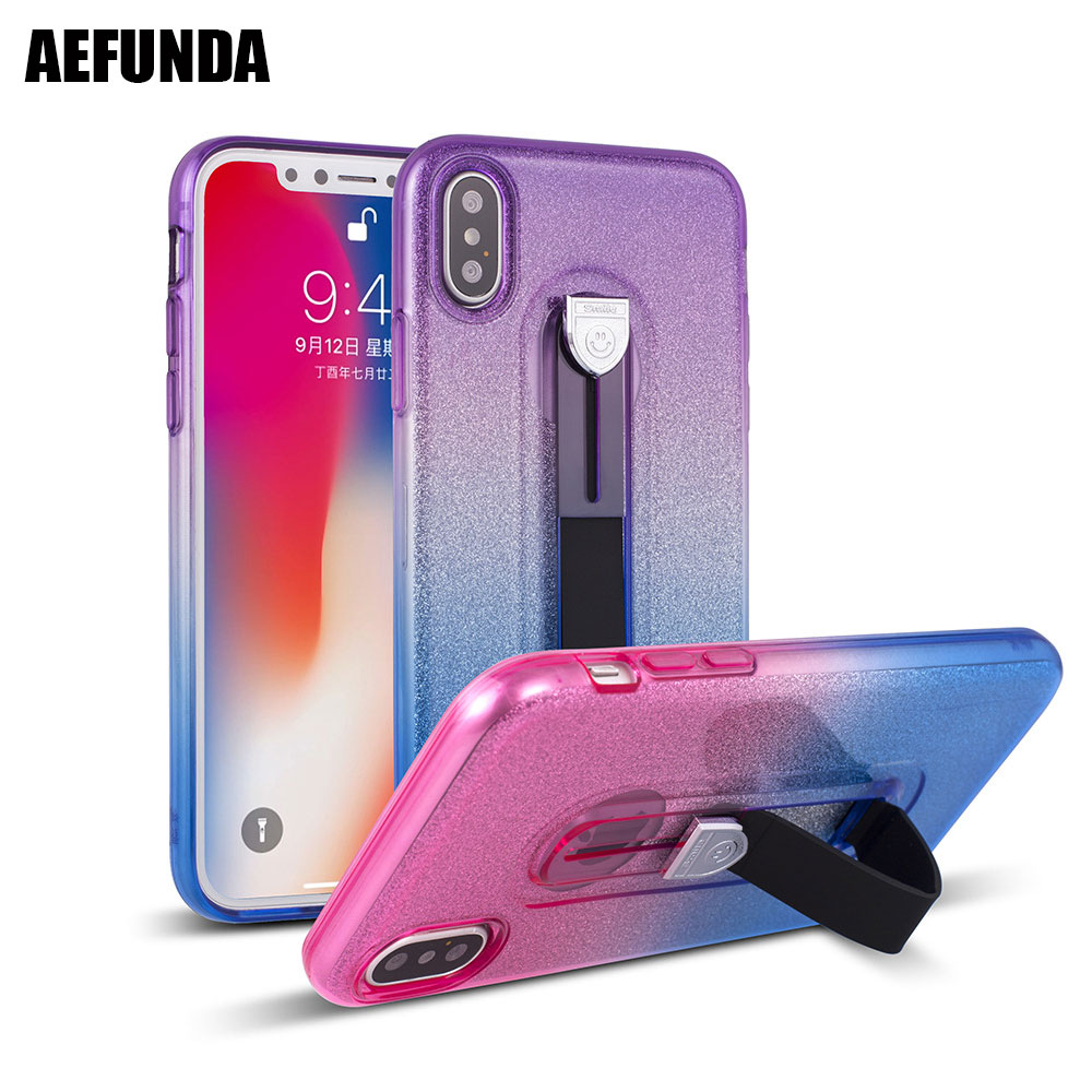 Luxury Phone Stand Cases For iPhone 7 8 X 6 6S Samsung Galaxy S9 S8 Plus Note 8 Silicon Belt Finger Strap Loop Grip Cover Case