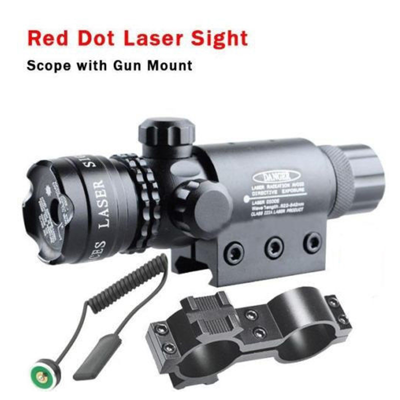 Tactical Hunting Rifle Red Dot Laser Sight Scope 20mm Rail Picatinny Mount Airsoft Laser Scope 3 10x42 red laser m9b tactical rifle scope red green mil dot reticle with side mounted red laser guaranteed 100%
