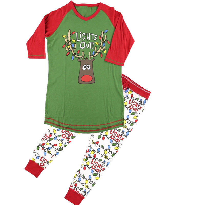 New Stylish Merry Christmas Warm Costume Adult Women Reindeer Full Sleeve O Neck Tops Trousers Nightwear Pajamas Sets Cheap
