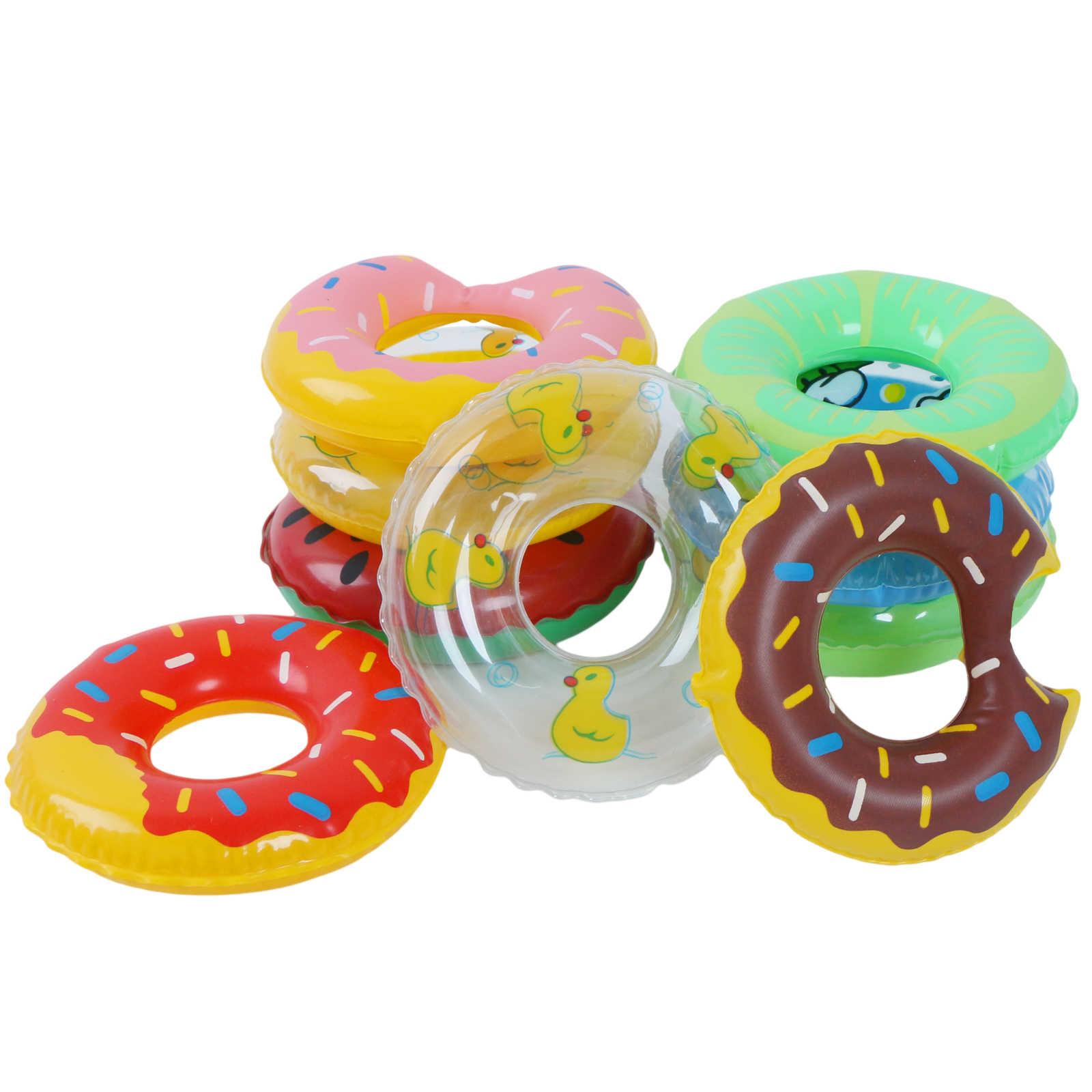 2 Pcs/5 Pcs Mini ตุ๊กตาว่ายน้ำลอยแหวนของเล่น Mix Styles ฤดูร้อน Float Lifebelt ตุ๊กตาอุปกรณ์เสริมสำหรับตุ๊กตาบาร์บี้