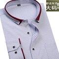 2017 новое прибытие Осень рубашки мужчина печати с длинными рукавами очень большой формальные рубашки супер большой моды горошек плюс размер М-8XL9XL