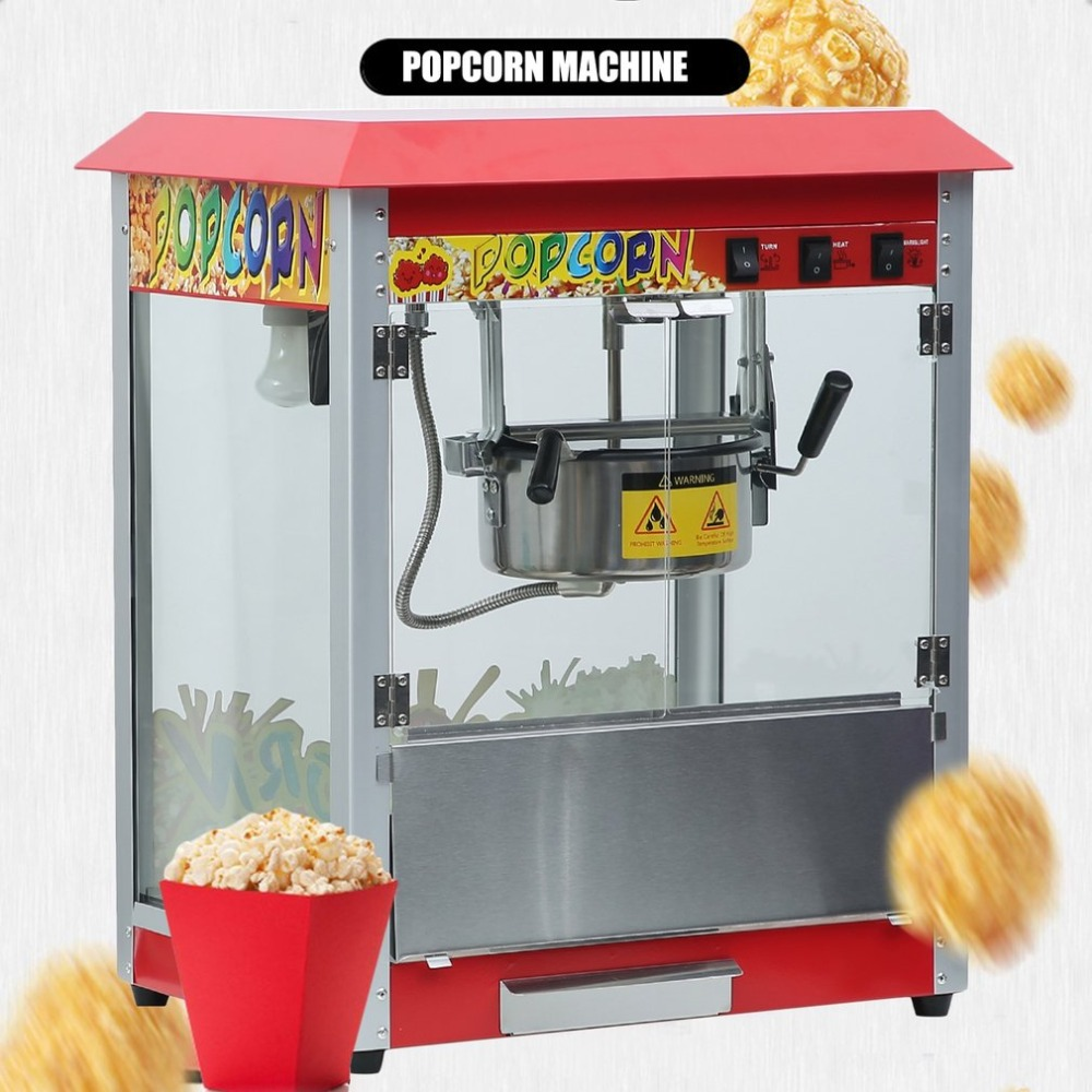 Retro Style Small Popcorn Maker Machine Electric Automatic Popcorn Machine Stainless Steel Thermal Insulation System american style popcorn machine commercial popcorn machine household appliances automatic stainless steel 310w