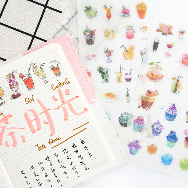 6 pcs/pack Afternoon Tea Time Stickers Set Decorative Stationery Stickers Scrapbooking DIY Diary Album Stick Label spring and fall leaves shape pvc environmental stickers decorative diy scrapbooking keyboard personal diary stationery stickers