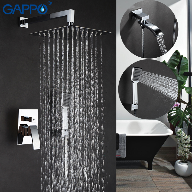 GAPPO Wall bathroom shower faucet brass set bronze rainfall shower mixer tap chrome bathtub faucet waterfall Bath Shower GA7107 chrome bathroom thermostatic mixer shower faucet set dual handles wall mount bath shower kit with 8 rainfall showerhead