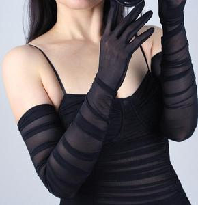 Image 5 - Womens Fashion Folded White Black Color Long Mesh Glove Female Sexy Elegant Vintage Touch Screen Long Sunscreen Glove R731