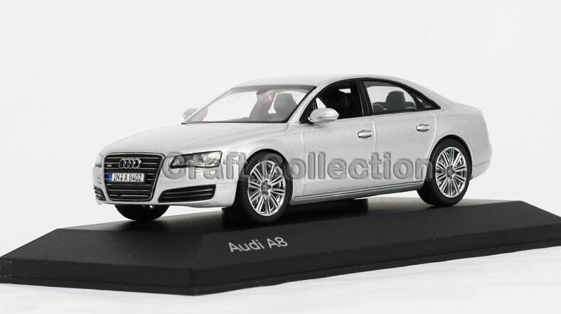 Silver 1:43 Car Model Audi A8 Commercial VehicleMinicar Diecast Classic Toys Replica Luxury Collection Miniature Minicar