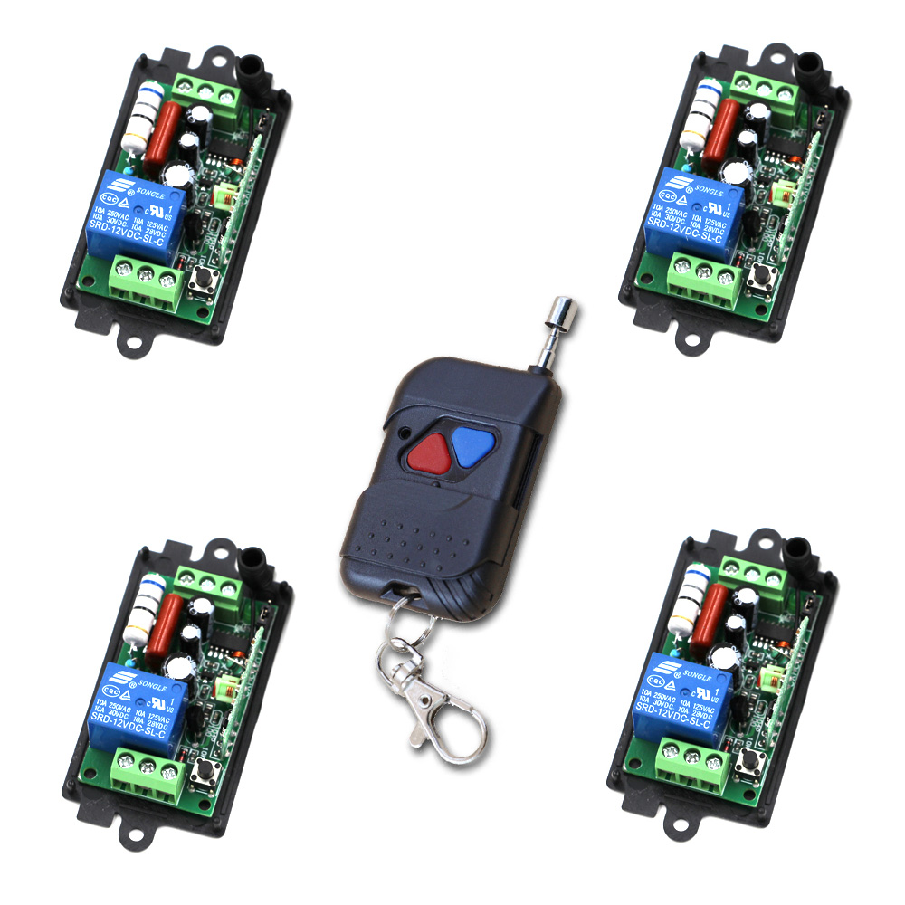 AC110V 220V 1CH Wireless Remote Control System 1 Transmitter and 4 Receivers Universal Gate Remote Control /Radio Receiver 2 receivers 60 buzzers wireless restaurant buzzer caller table call calling button waiter pager system