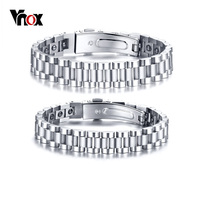 Vnox Healthy Hematite Bracelets Bangles For Men Women Bio Energy Therapy Stainless Steel Strap Bracelet Silver