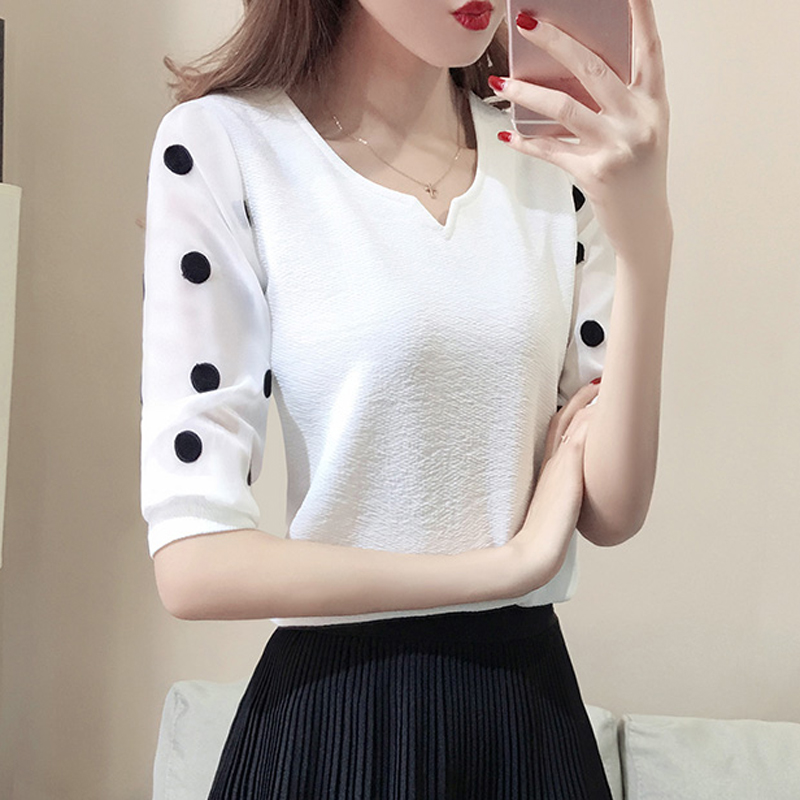 Summer White Chiffon Polka Dot Print Blouse Shirt 3/4 Sleeve V-neck Chiffon Tops Blusas Korean Fashion Office Blouses 2018 Black