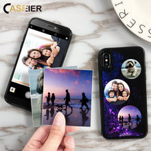 CASEIER DIY Custom Phone Case For iPhone X Glitter Quicksand Cases 6 6s 7 8 Plus Soft edge + Hard Back Accessories