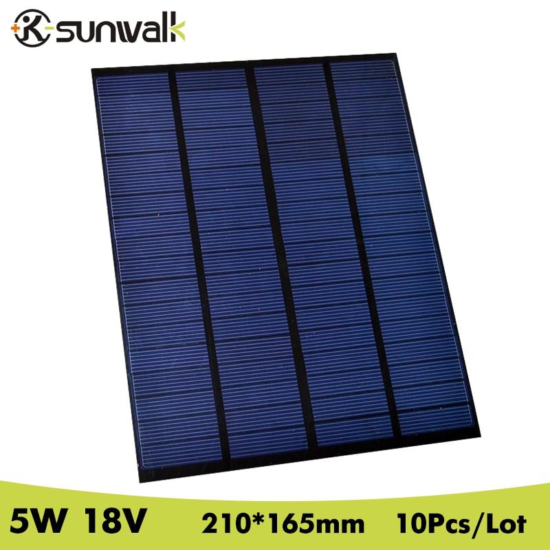 SUNWALK 10pcs 18V 5W Solar Panel Polycrystalline PET Mini 270mAh Solar Panel Cell 18V Module for DIY Solar System 210*165mm