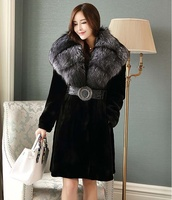 90 Long Russian Sable Fur/Silver Fox Fur Hoodie Plus Size Full Length Chinchilla Silver Fox Long Coat Plus Size Fur Coats Women