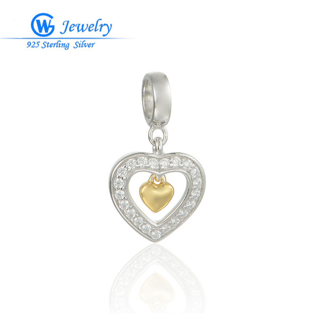 Genuine 925 Sterling Silver Jewelry Cz Gold Heart Pendant Fits For Necklace & Bracelets GW Fine Jewelry S245H20