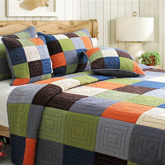 Captivating Pastoral Style Plaid Patchwork Coverlet,Cotton Patchwork  Bedspread,Checkered Pattern Quilt Comforter Set,