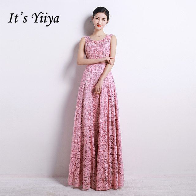 It\'s YiiYa Hot Pink Sleeveless O Neck Prom Dresses Candy Color ...