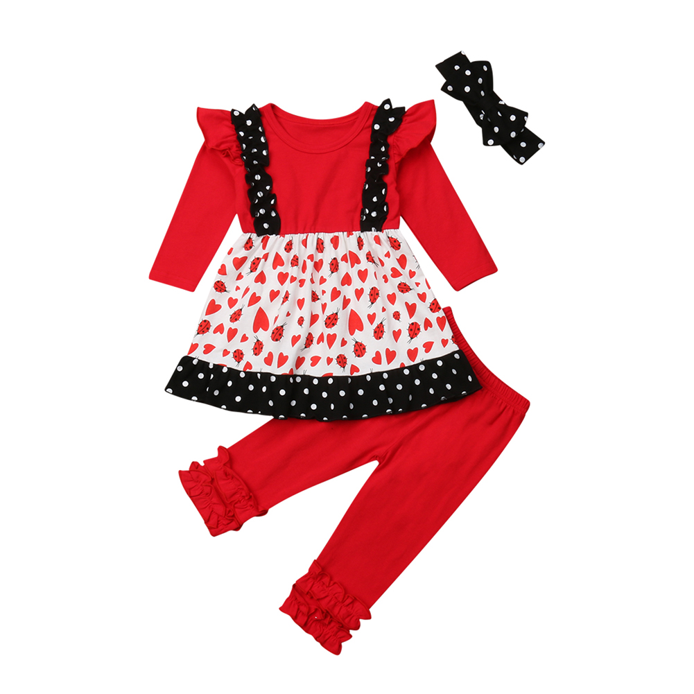 Little Girls Ladybug Clothes Set Toddler Newborn Baby Girl Spring Autumn Dress Top Long Pants Outfits Clothing 3Pcs Sets 2019 in Clothing Sets from Mother Kids