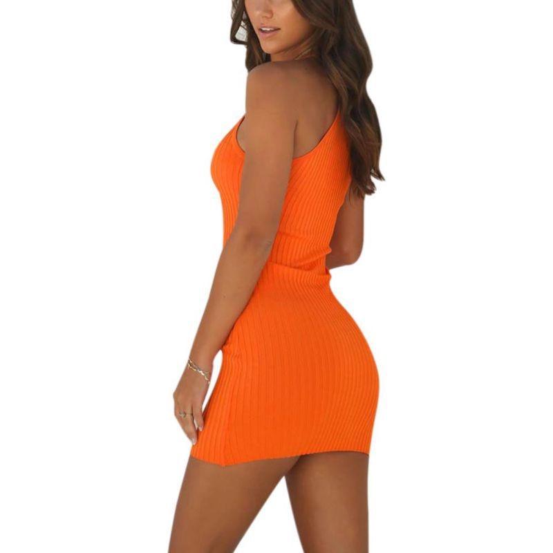 Sexy Club Backless Spaghetti Strap Dress Women Summer Dress 2018 Ladies Elastic Bodycon Black Orange Party Mini Dresses Vestidos in Dresses from Women 39 s Clothing