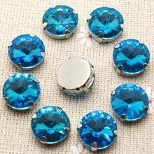 50 шт. 10 мм кристалл красочные круглый шить на горный хрусталь с установкой коготь серебро Назад фантазии камень с отверстиями шить на платье одежды