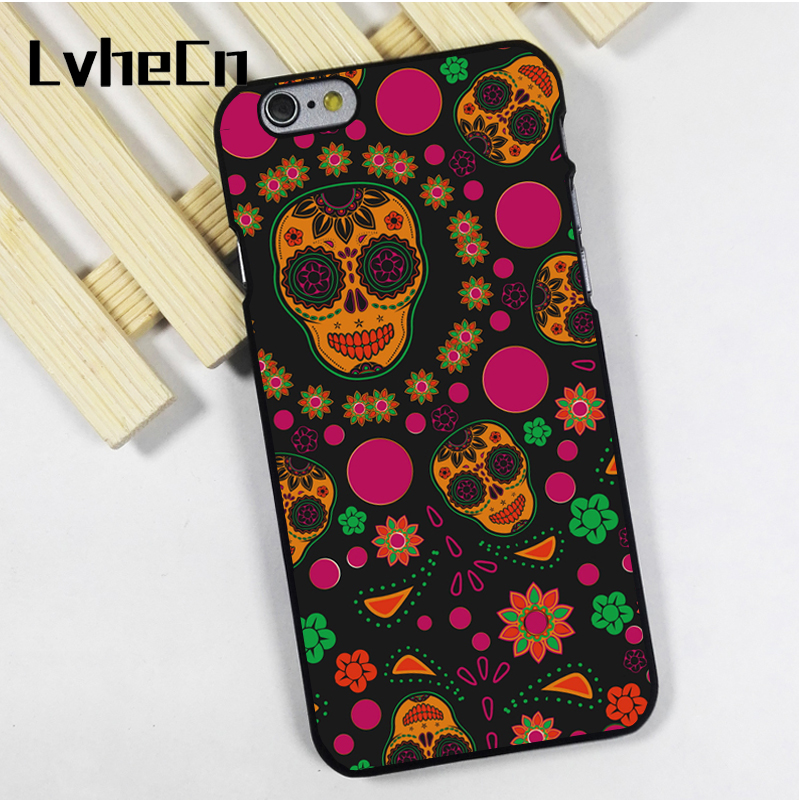 LvheCn phone case cover fit for iPhone 4 4s 5 5s 5c SE 6 6s 7 8 plus X ipod touch 4 5 6 CUTE SUGAR SKULL PATTERN