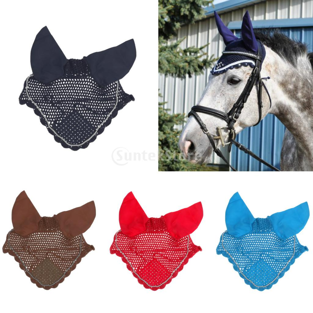 New Rhinestone Horse Ear Bonnet Net Hood Mask Fly Veil Breathable Cotton Crochet - 4 Colors