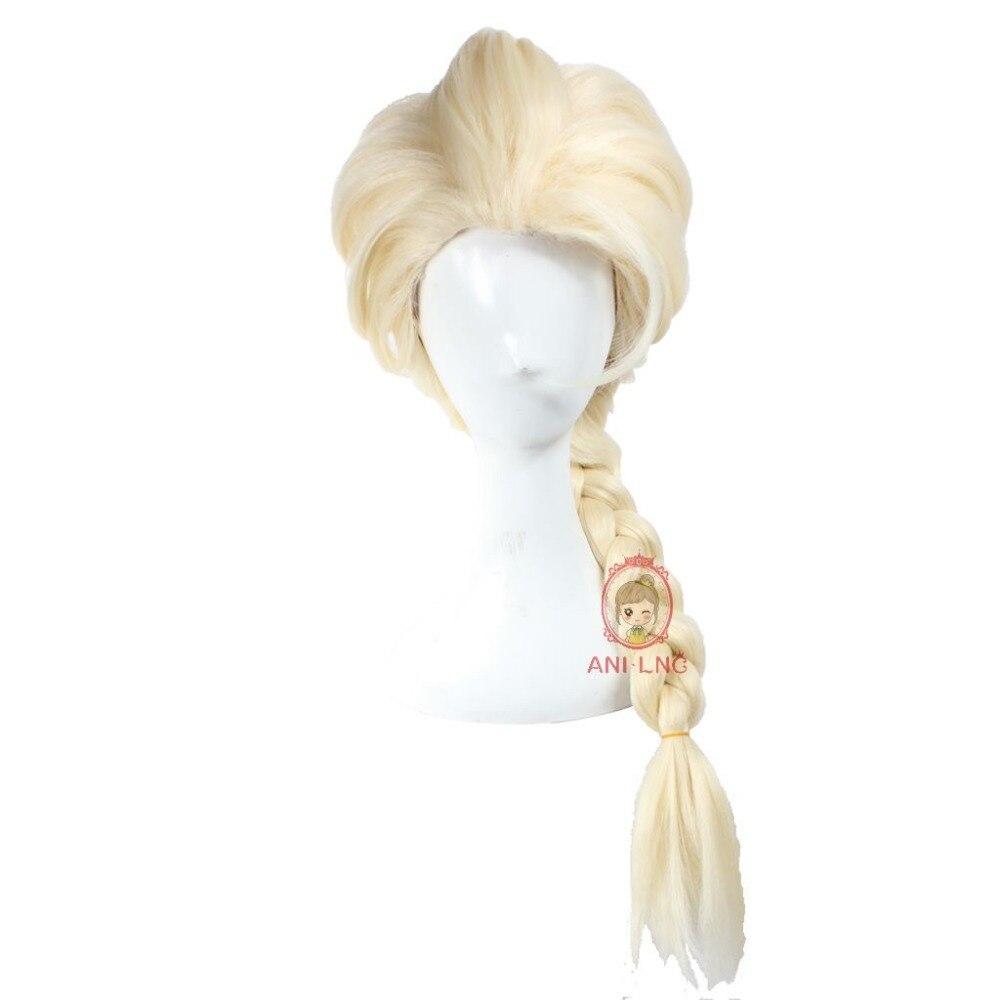 Anilnc Замороженные Принцесса Эльза Косплей парики длинные прямые светлые волосы парик для женщин