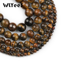 WLYeeS Natural stone Tiger eye beads 4-12mm round loose bead for mens jewelry bracelet Women Necklace making DIY ball 15