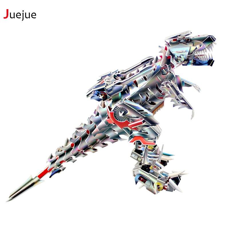2016 Новинка D-003 3D Puzzle Бумага робот тираннозавр пазл игрушки для детей поделки ручной работы Бумага паззлы