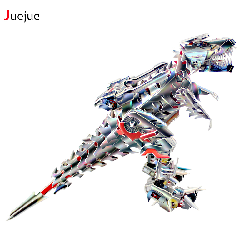 2016 New D-003 3D Puzzle Paper Robot Tyrannosaurus jigsaw puzzle toys for children diy handmade Paper jigsaw puzzles 3d jigsaw paper hero style puzzle block assembly toy