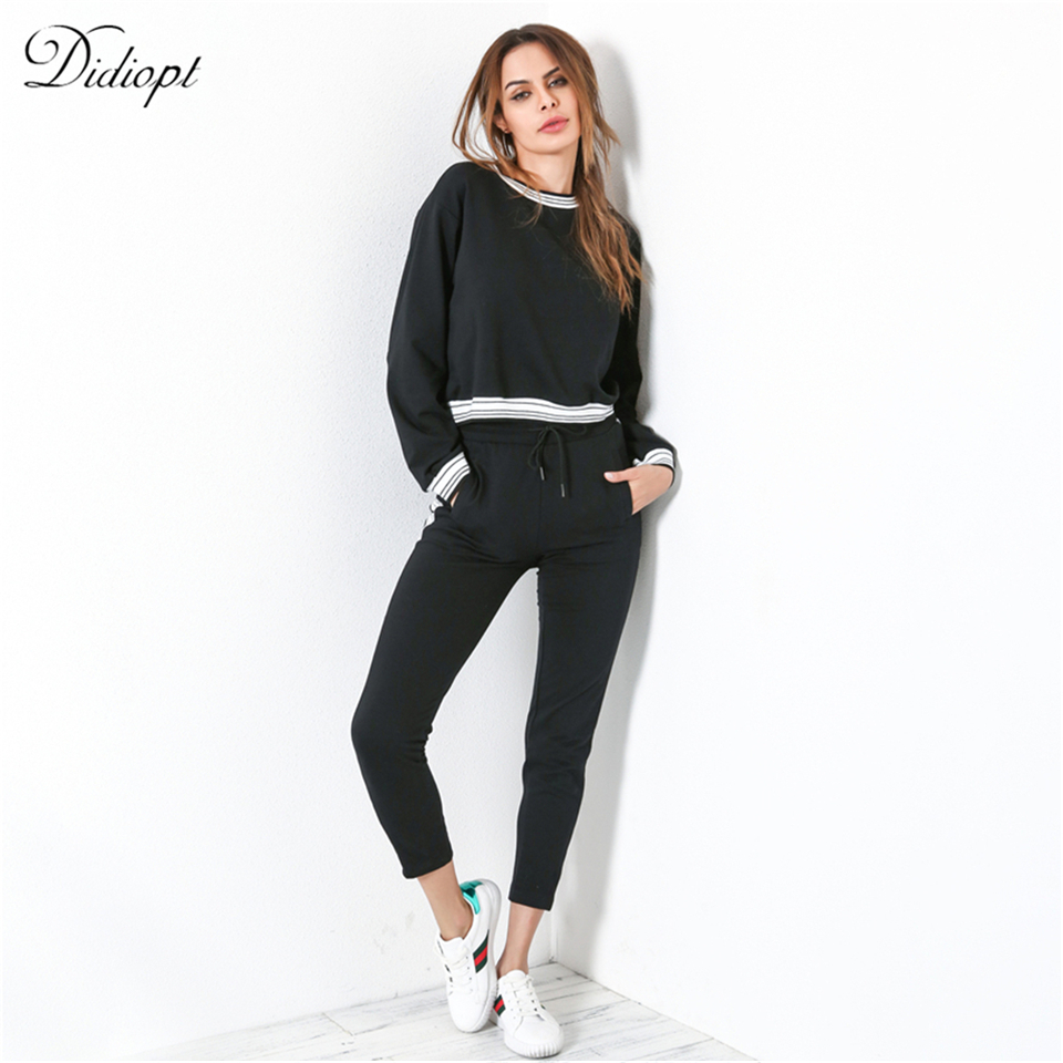 Didiopt 2018 Young Sweatshirt And Sport Pants Womens Suit For Specifically Black Womens Tracksuit Tight Body S2495B