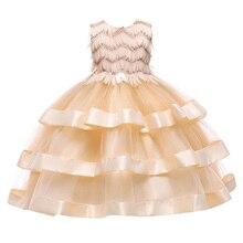 Girls Summer Dresses Kids Cake Layered Dress Christmas Halloween Birthday Wedding Dress Children Girl Kids Princess Party Dress