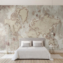 Custom wallpaper retro style old American Nordic world map TV background wall high-grade waterproof material