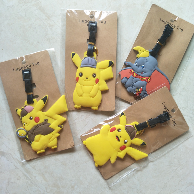 Anime Pokemon Gengar Pikachu PVC key chain Piplup Charmander Squirtle cute funny soft rubber luggage tag boarding pass bag tags