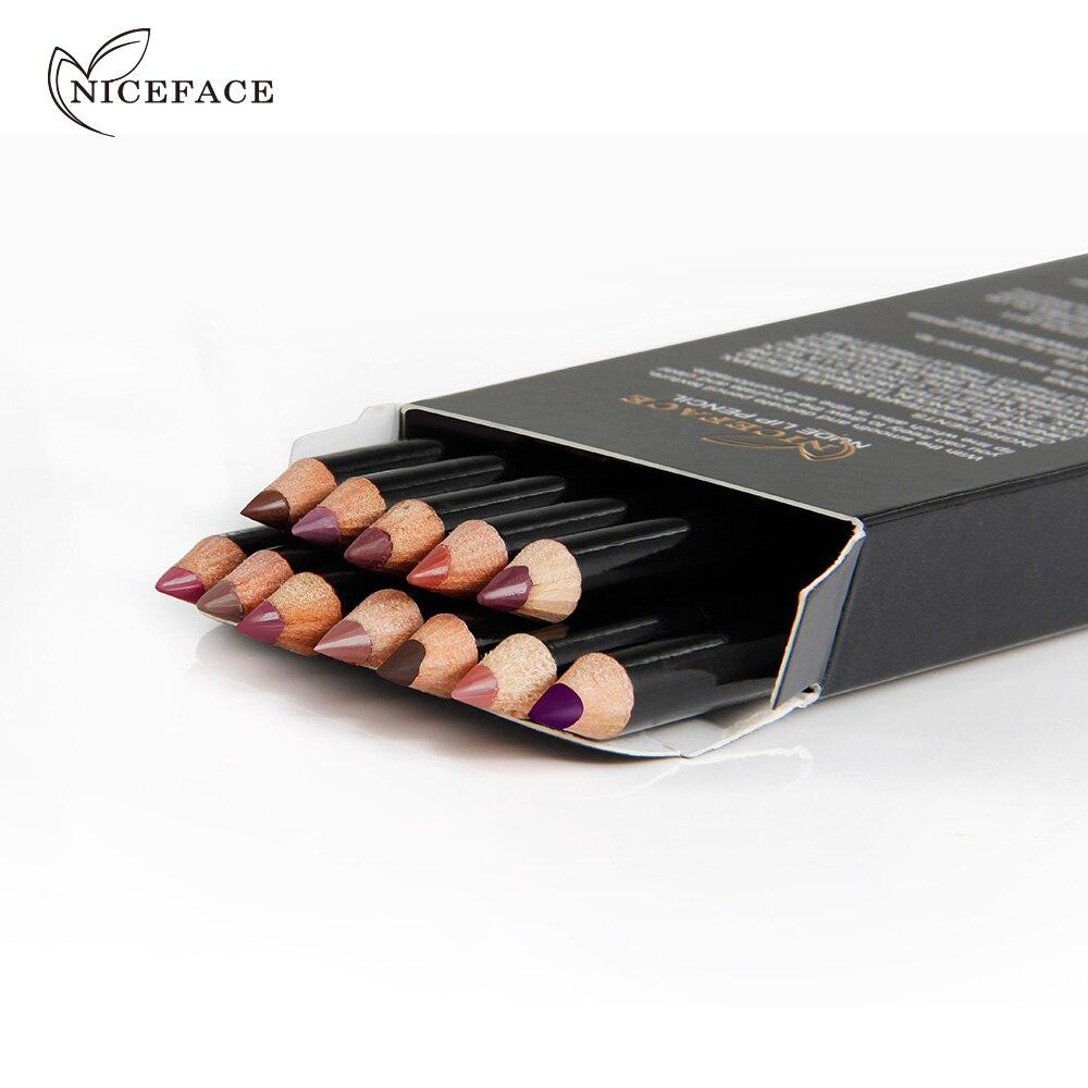 NICEFACE שנמשך מט ליפ עירום 12 צבעים מקצועיים עמיד למים גוון השפתיים של איפור שפתון מט ליפ ליינר פן