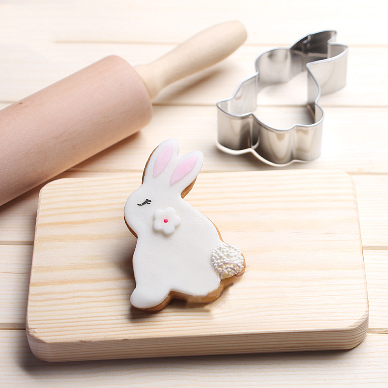 4PCS/Set Happy Easter Rabbit Biscuit Cookie Mold Stainless Steel Easter Eggs 3D Cookie Cutter Baking Decorations For Home Drop