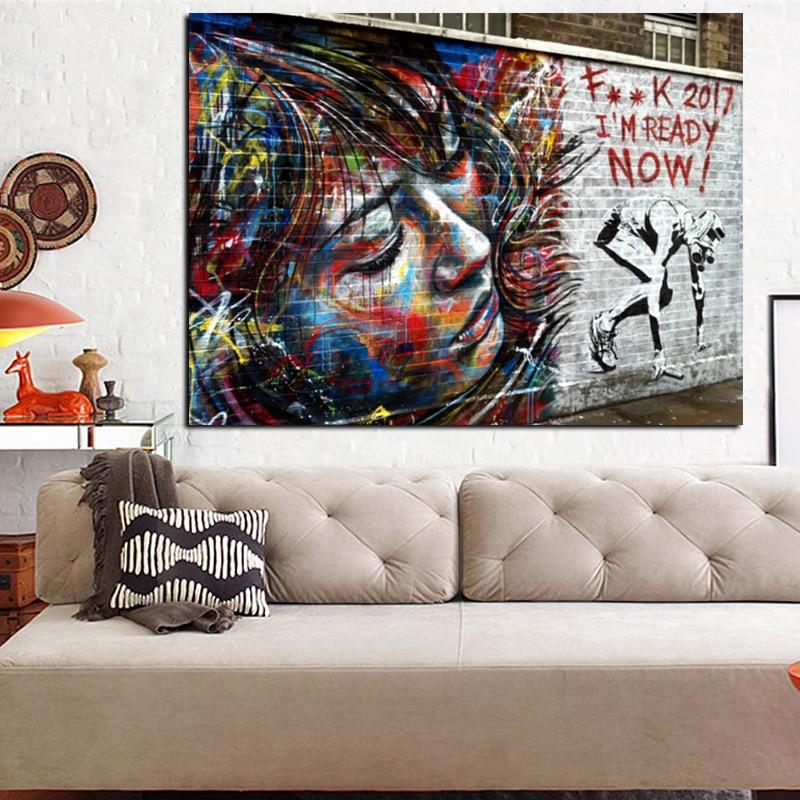 الحديث 2017 أنا جاهز شارع جدار الفن قماش - ديكور المنزل