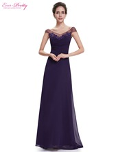 Ever Pretty Women's Evening Dresses HE08684PP Women's Beautiful Elegant Purple V neck Sexy Long Evening Party Dresses 2017 New