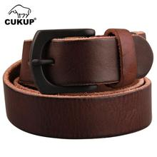 CUKUP Unisex Top Quality Smooth Solid Cow Skin Leather Belts Alloy Pin Buckle Metal Belt Retro Styles Accessories 3.3cm NCK376