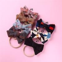 50pcs Plaid Fabric Bow Baby Headband Bowknot Elastic Cute Pattern Hair Band for Girl Children, Soft Headwear Hair Accessories
