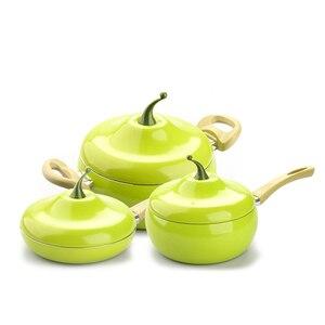 Image 4 - מכירה לוהטת פירות מחבת בישול סיר צבע סיר קרמיקה מחבת גריל מחבת אינדוקציה כיריים גז אלומיניום כלי בישול זרוק חינם