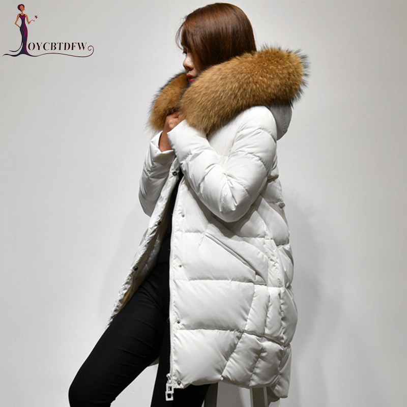 Здесь продается  Winter women down jacket 2018 new solid color mid-long fur collar Upscale overcoat Thickening hooded warm ladies outerwear ll703  Одежда и аксессуары