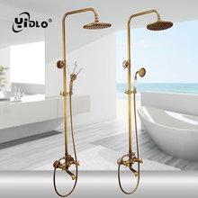 Купить с кэшбэком YiDLon Shower Faucets Antique Finish Bathroom Faucet Brass Bath Rainfall With Spray Shower Head Europe Faucet Bath Shower Set