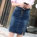 Высокое качество! НОВЫЙ летний джинсовая юбка 2016 женщин джинсовой юбке однобортный короткая юбка горячие продажа джинсовой юбке бесплатная доставка