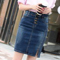 High quality!NEW summer jean skirt 2016 women denim skirt single-breasted short skirt hot sale denim skirt  free shipping