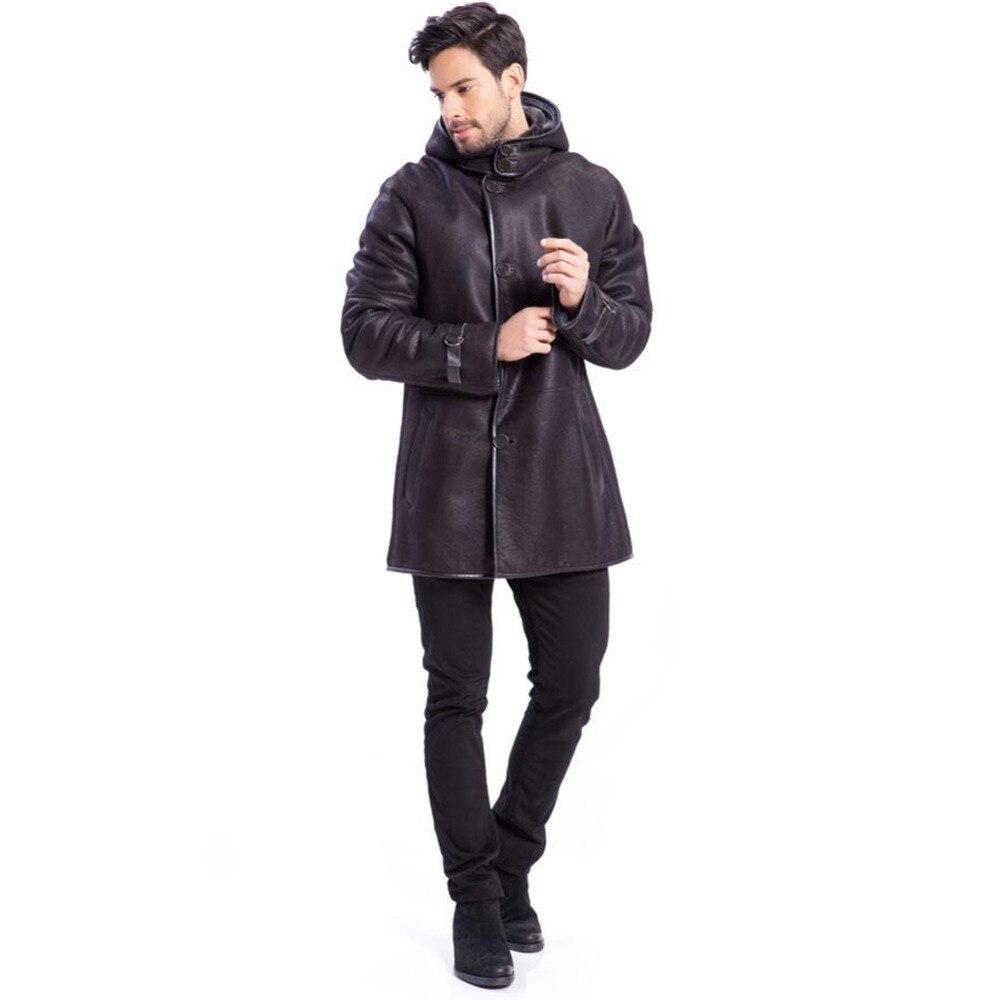 Véritable Chaud Long Style Manteaux Marron Peau La À Cuir Mode Et Vestes Mouton B3 Capuche Hommes Mens En De wXN0kOP8n