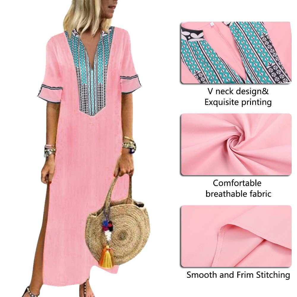 Women Plus Size 5XL African Printed Maxi Dresses Slim V neck Long Dress Solid Color Short Sleev Dress 2019 Summer Streetwear