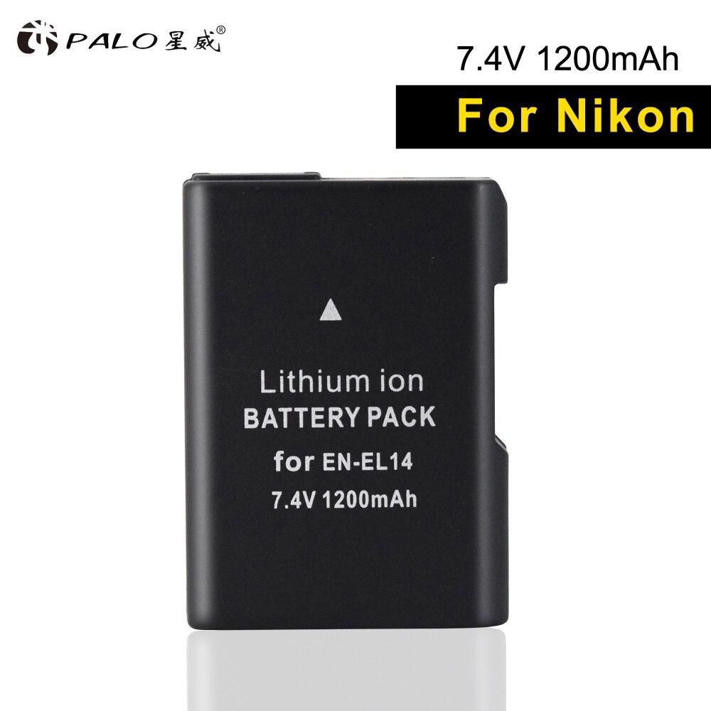 PALO 1 piezas EN-EL14 batería de la cámara digital de 7,4 V en el14 batería para Nikon df d3400 d5300 d3100 d5600/ 5500/5200/3300 P7000/7100 etc.