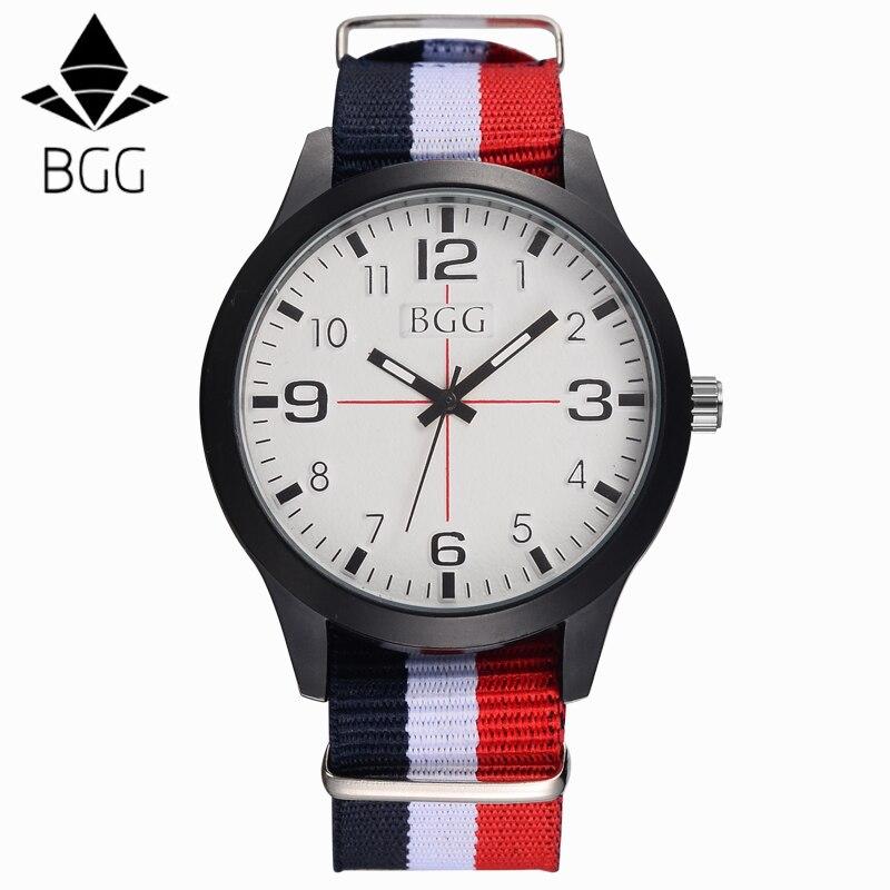 Hot Sell BGG Watches Men Top Brand Luxury Mens Nylon Strap Wristwatches Men's Quartz Popular Sports Watches relogio masculino