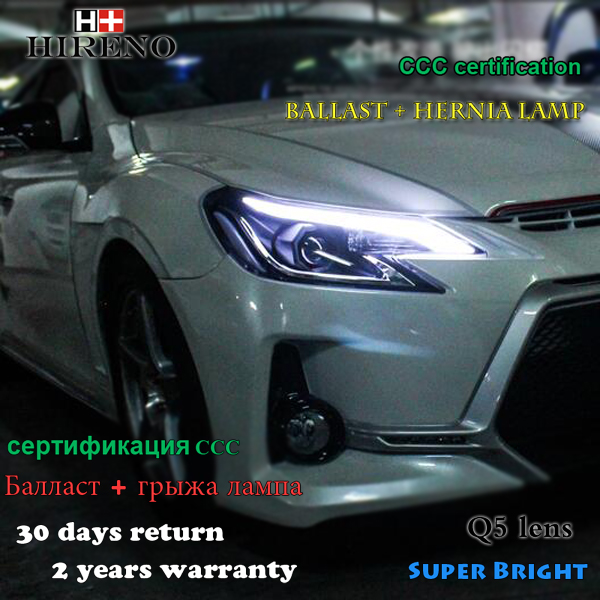 Hireno Headlamp for 2014 Toyota REIZ MARK X Headlight Assembly LED DRL Angel Lens Double Beam HID Xenon 2pcs 2pcs purple blue red green led demon eyes for bixenon projector lens hella5 q5 2 5inch and 3 0inch headlight angel devil demon